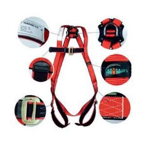 UFS Red & Black Full Body Harness with Polyamide Lanyard, USP 16-Double USP 210