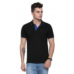 Ruggers Black Collared T-shirt with Blue Tipping, Size: S