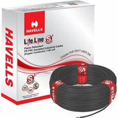 Havells 4 Sq mm Single Core Life Line Plus S3 Black HRFR PVC Flexible Cables WHFFDNKA14X0 Length 90 m