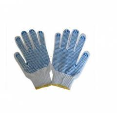 Hansafe Single Side Knitted Cotton Hand Gloves, White (Pack of 12)