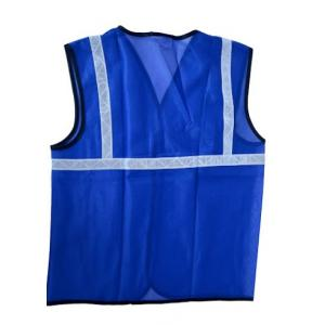 KT Blue Safety Reflective Jacket with 1 Inch Tape (Pack of 10)