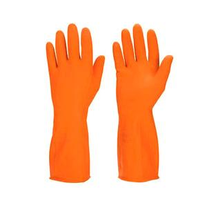 Household 12 Inch Orange Rubber Hand Gloves