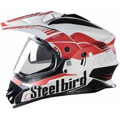 Steelbird 42 Airborne Motorbike Matt White Red Full Face Helmet, Size (Large, 600 mm)