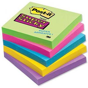 3M Assorted Post-it Sticky Notepad, 5x3 inch