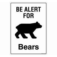Safety Sign Store be Alert for bears Sign Board, PS207-A4PC-01