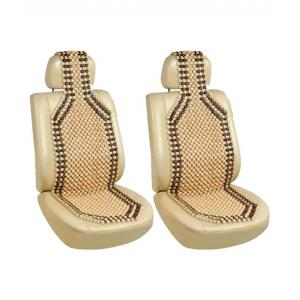 G-King Beige Wooden Bead Car Seat Cover (Pack of 2)