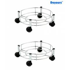 Abyss ABDY-0109 Stainless Steel Gas Cylinder Trolley with Quality Wheels (Pack of 2)