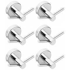 Abyss ABDY-1626 Chrome Finish Stainless Steel Robe Hook/Twin Hook (Pack of 6)