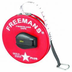 Freemans Goldstar Plus Red PVC Coated Fibre Glass Tape Measures, Length: 50 m, Width: 13 mm
