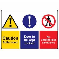Safety Sign Store Caution: Boiler Room, Door to be kept Locked Sign Board, CW403-A3V-01