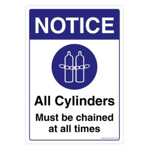 Safety Sign Store Notice All Cylinders must be Chained at All Times Sign Board, SS723-A5PC-01