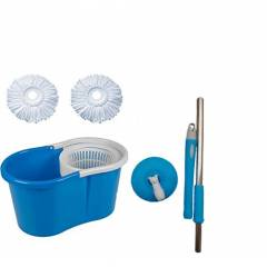 GTC 360 Degree Easy Magic PVC Bucket Mop with 2 Microfiber Heads