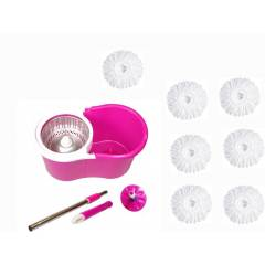 GTC Easy Magic 360 Degree Bucket Mop with Steel Spinner & 7 Microfiber Heads