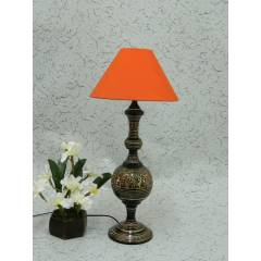 Tucasa Classic Brass Table Lamp with Orange Conical Shade , LG-983
