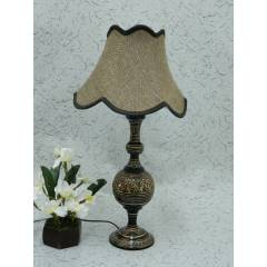 Tucasa Classic Brass Carving Table Lamp with Brown Jute Shade , LG-975