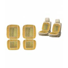 G-King Velvet Beige Car Bead Seat Set For Tata Winger