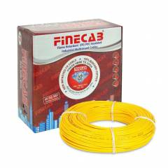 Finecab 6.0 Sq mm Yellow PVC Insulated Single Core FR Wire, Length: 90 m