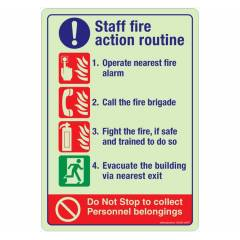 Safety Sign Store Staff Fire Action Routine Sign Board, NG203-A5NGR-01