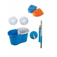 Navisha Easy Magic 360 Degree Spin Floor Bucket PVC Mop with 2 Microfiber Heads & Free Tile Brush, Gloves