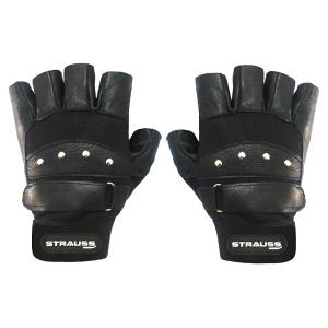 Strauss Black Pro Leather Gym Gloves, Size: M