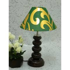 Tucasa Smart Wooden Table Lamp with Green & Gold Shade, LG-1063