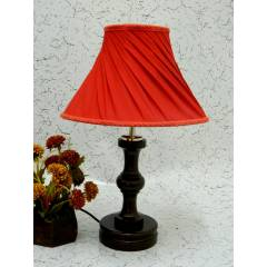Tucasa Fabulous Wooden Table Lamp with Red Pleated Shade, LG-1033