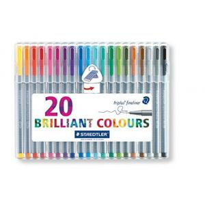 Staedtler 334 SB20 Triplus Colour Fibre Tip Pen Desktop Box (Pack of 20)