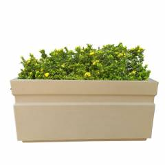 Fox B 11 Inch Rectangular Beige German Polymer Planter, GT 241111-B