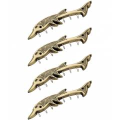 Doyours 4 Pieces Antique Brass Dolphin Design Key Hook Set, DY-0934