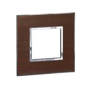 Legrand Arteor 3 Module Wood Light Wenge Square Cover Plate With Frame, 5757 25