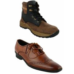 Da-Dhichi Combo of RA-07 Safety Boots & Formal Shoes, Size: 6