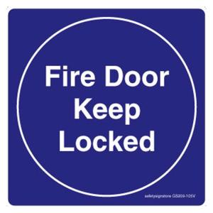 Safety Sign Store Fire Door, Keep Locked Sign Board, GS209-105PC-01, (Pack of 5)