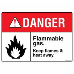 Safety Sign Store Danger: Flammable Gas Sign Board, FE715-A4PC-01