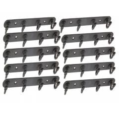 SmartShophar 8 Inch Black Steel Coated 4 Legs Robert Wall Hook (Pack of 10), 54618-SHKR-BL08-P10