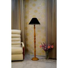 Tucasa Mango Wood Camel Floor Lamp with Black Conical Polycotton Shade, WF-115