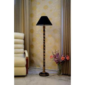 Tucasa Mango Wood Black & Gold Floor Lamp with Black Conical Polycotton Shade, WF-69