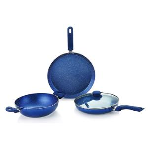 Monet 3 Pieces Granite Cookware Set with Glass Lid