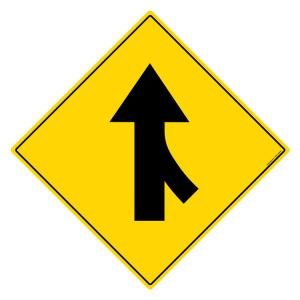 Safety Sign Store Road Merge-Right Sign Board, TR242-600DG-01