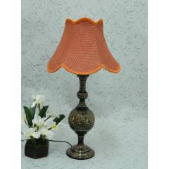 Tucasa Classic Brass Carving Table Lamp with Red Jute Shade , LG-976
