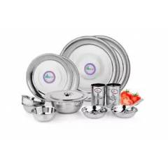 Airan 15 Pieces Stainless Steel Silver Dinner Set
