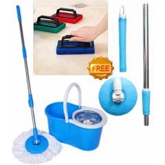 Navisha Assorted Steel Mop with Free Tile Brush & Assorted Mop Rod, MOP0583