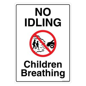 Safety Sign Store No Idling, Children Breathing Sign Board, FS122-A3AL-01