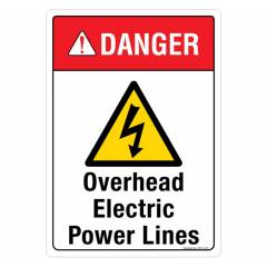 Safety Sign Store Danger: Overhead Electric Power Lines Sign Board, SS315-A3V-01