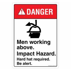 Safety Sign Store Danger: Men Working Above Sign Board, SS807-A4PC-01