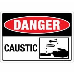 Safety Sign Store Danger: Caustic Sign Board, SS103-A5AL-01