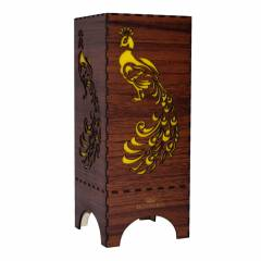 Dizionzrio DTBLPKBR Yellow Handicrafts Wooden Look Hand Made Night Table Lamp