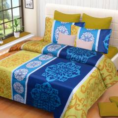 IWS Blue Luxury Cotton Printed Double Bedsheet with 2 Pillow Covers, CB1010