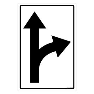 Safety Sign Store Caution: Straight & Right Curve Road Sign Board, TR220-90120DG-01