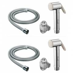 Pack of 2 Snowbell Jaquar Ivory Health Faucet, 1m Flexible Tube & Hook