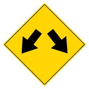 Asian Loto 3 m Safety Sign Road Branching Angular Left & Right Sign Board, ALC-SGN-20-900